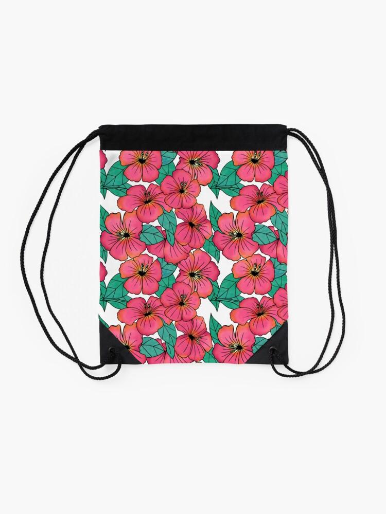 Alternate view of Tropical Floral Pink Hibiscus Pattern Drawstring Bag