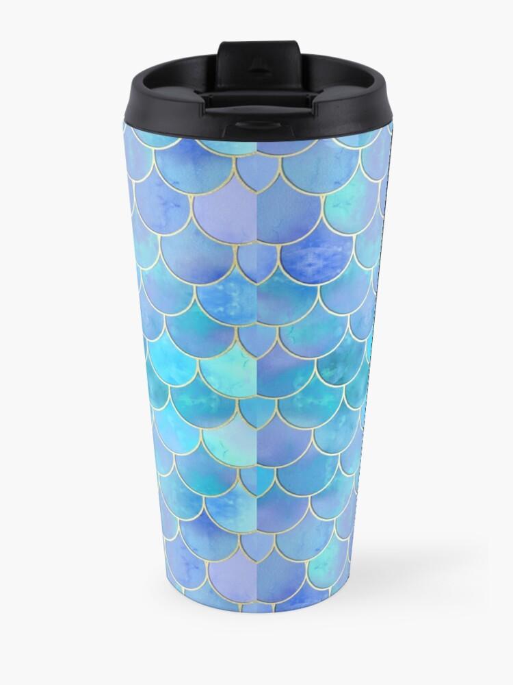Alternate view of Aqua Pearlescent & Gold Mermaid Scale Pattern Travel Mug