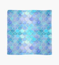 Aqua Pearlescent & Gold Mermaid Scale Pattern Scarf