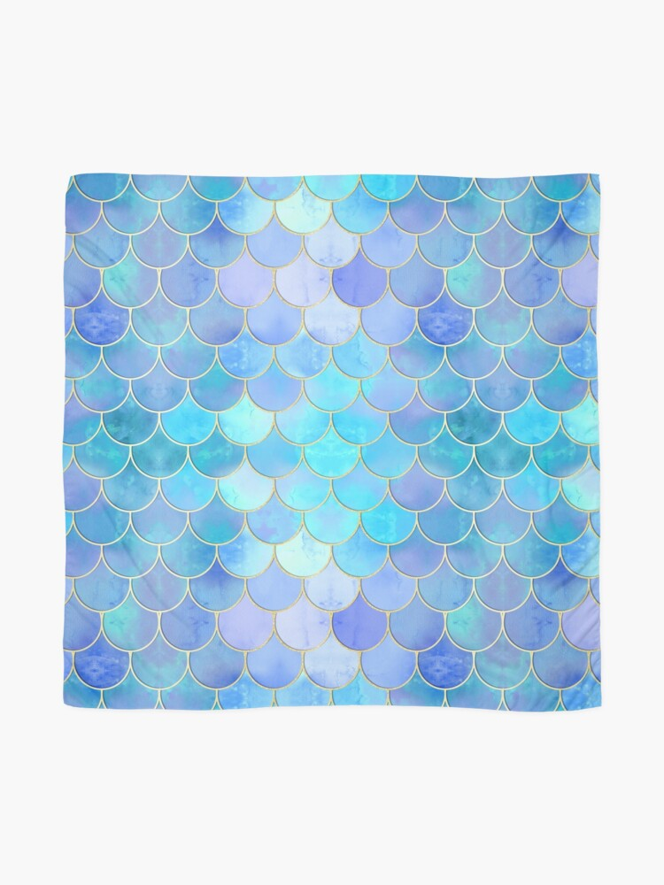 Alternate view of Aqua Pearlescent & Gold Mermaid Scale Pattern Scarf