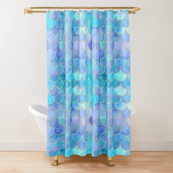 Aqua Pearlescent & Gold Mermaid Scale Pattern Shower Curtain
