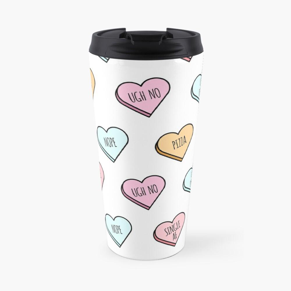Sassy & Sarcastic Candy Heart Pattern Travel Mug