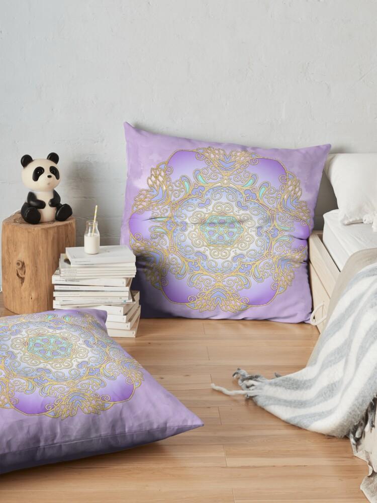 Alternate view of Purple & Gold Watercolour Mandala Floor Pillow