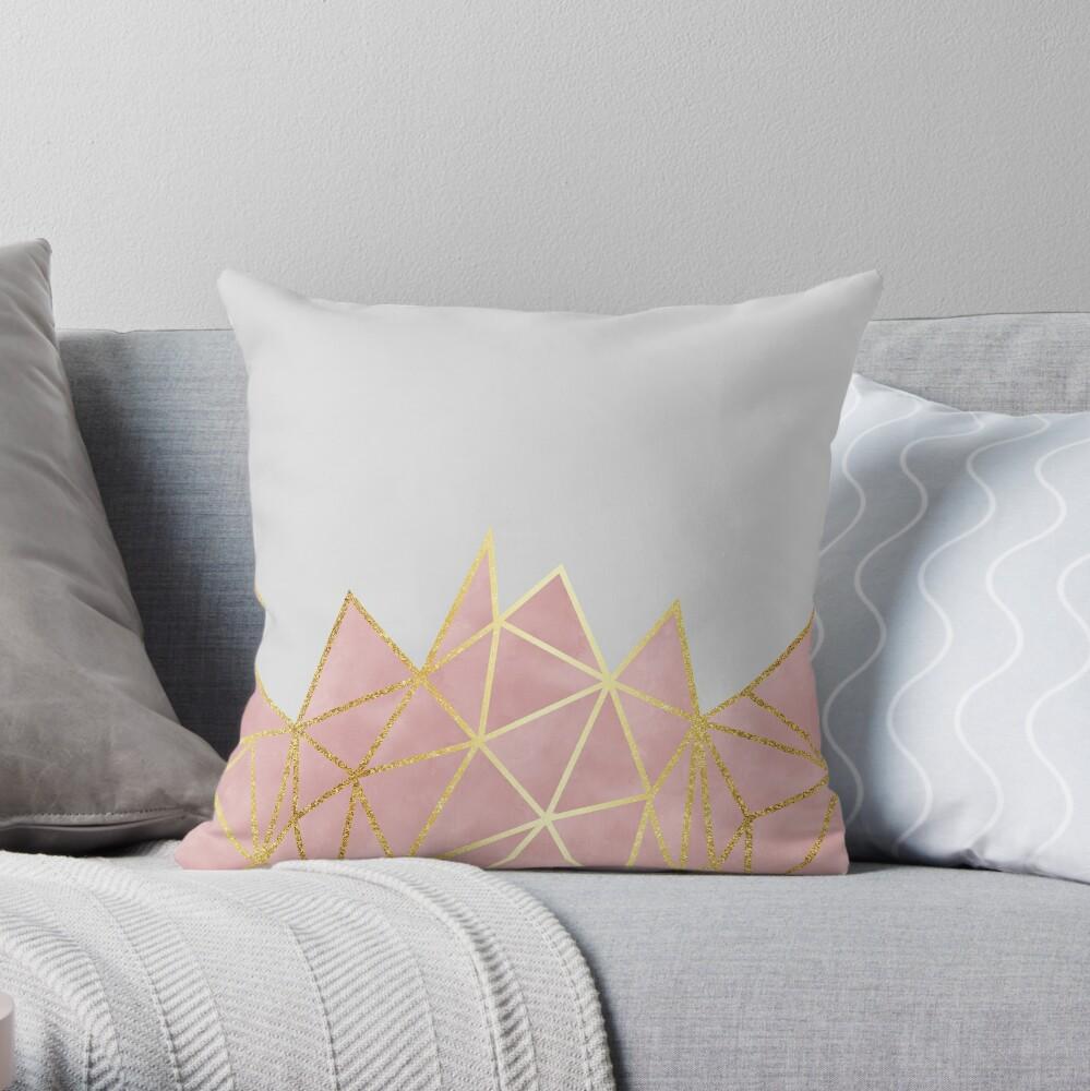 Pink Geometric & Gold Throw Pillow
