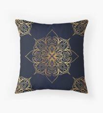 Navy & Gold Damask Pattern Throw Pillow