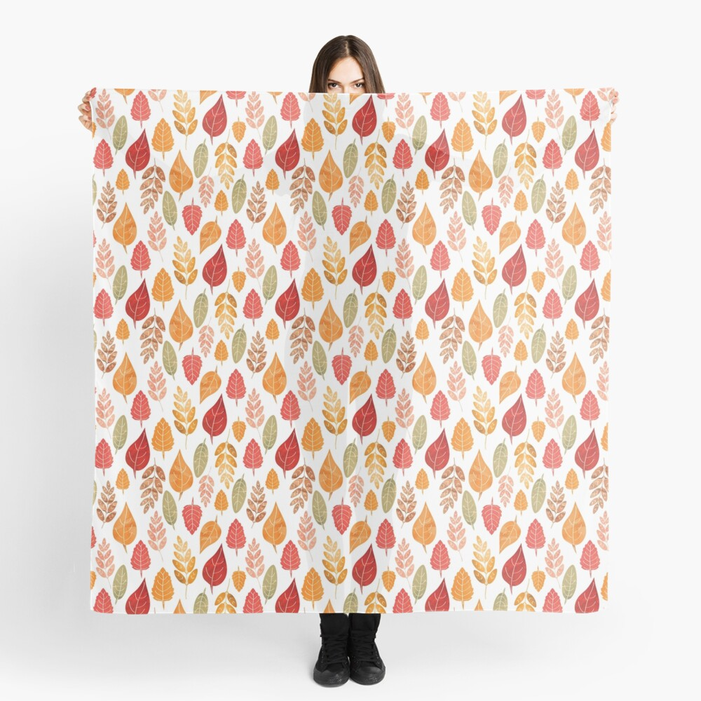 Painted Autumn Leaves Pattern Scarf