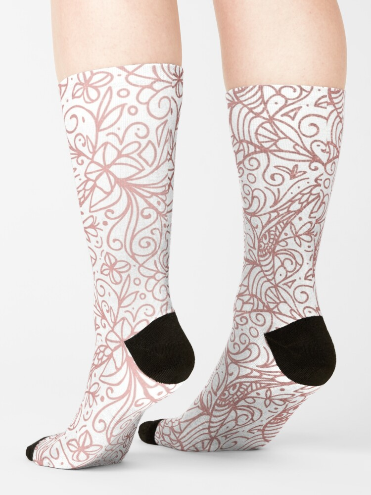 Alternate view of Rose Gold Shimmer Floral Socks