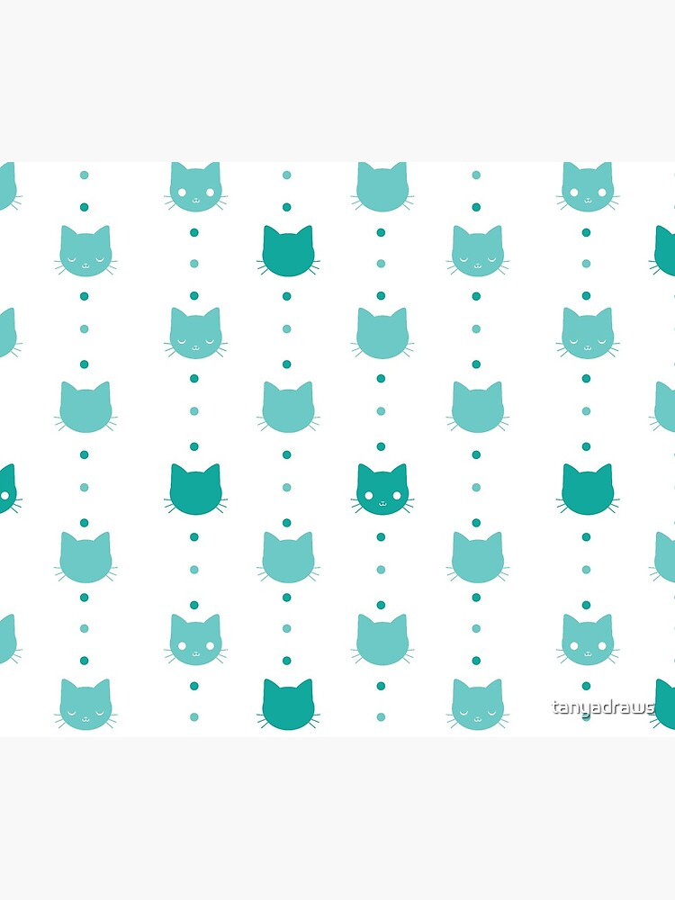Blue Cat Faces Pattern by tanyadraws