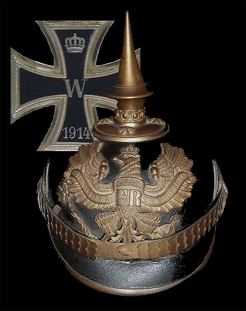 German WWI Icons.. 1914 Iron Cross and Helmet by edsimoneit