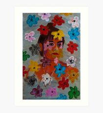 Painting: Projection of a Woman's Portrait on a Flowery Wallpaper Art Print