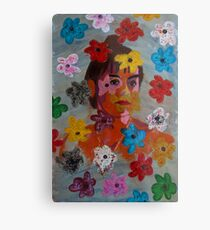 Painting: Projection of a Woman's Portrait on a Flowery Wallpaper Metal Print