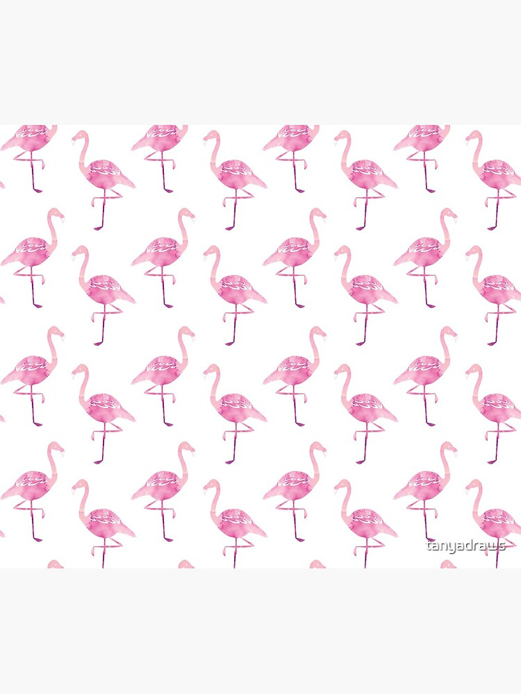 Watercolour Pink Flamingo Pattern by tanyadraws