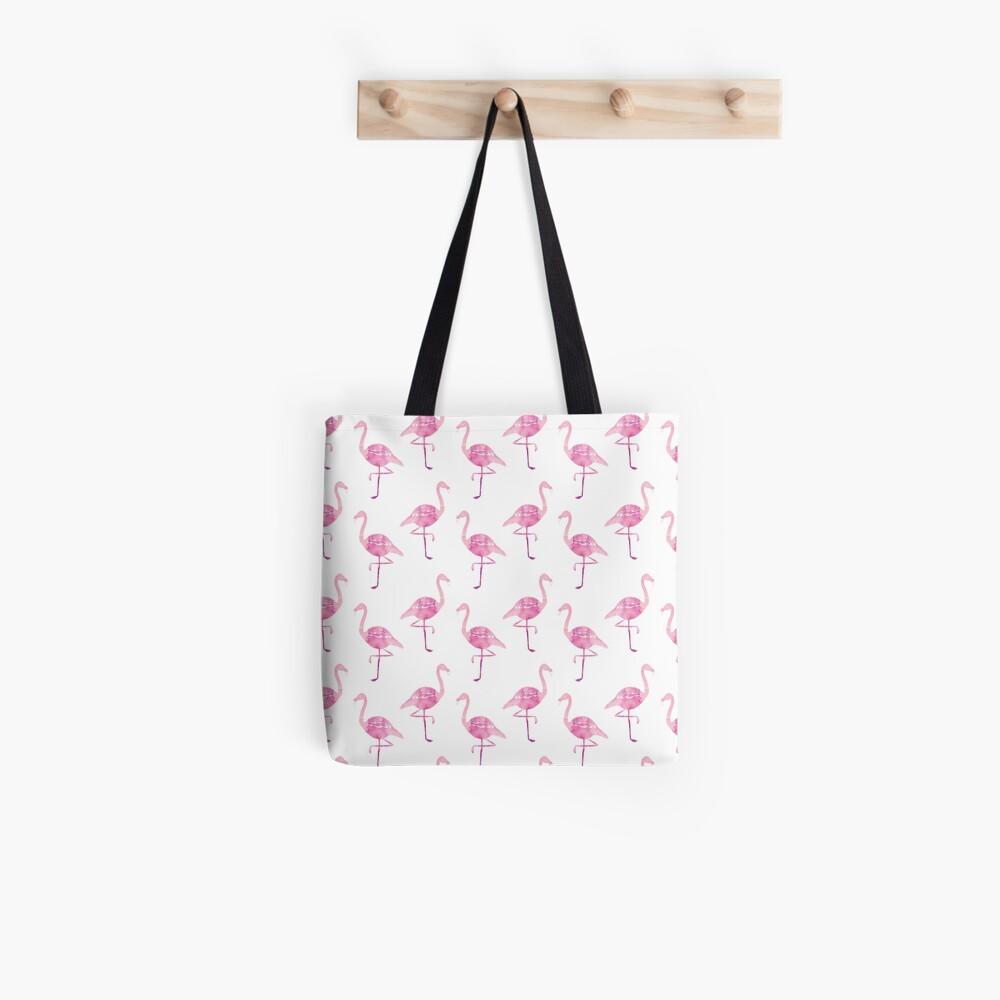 Watercolour Pink Flamingo Pattern Tote Bag