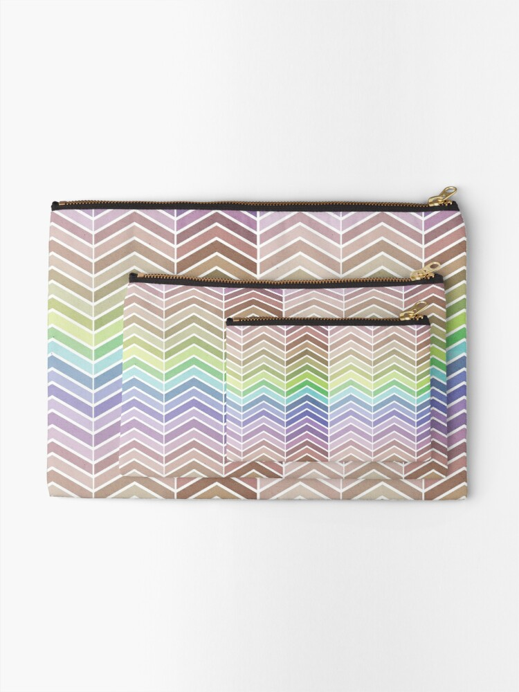 Alternate view of Rainbow and Textured Chevron Pattern Zipper Pouch