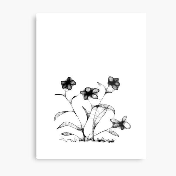 Four Flowers Scribble Metal Print