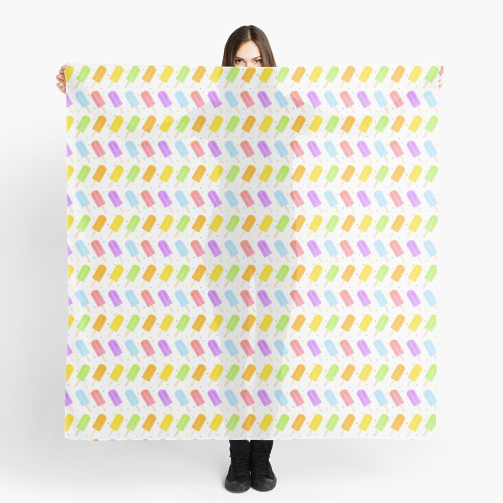 Tasty Summer Watercolour Popsicle Pattern Scarf