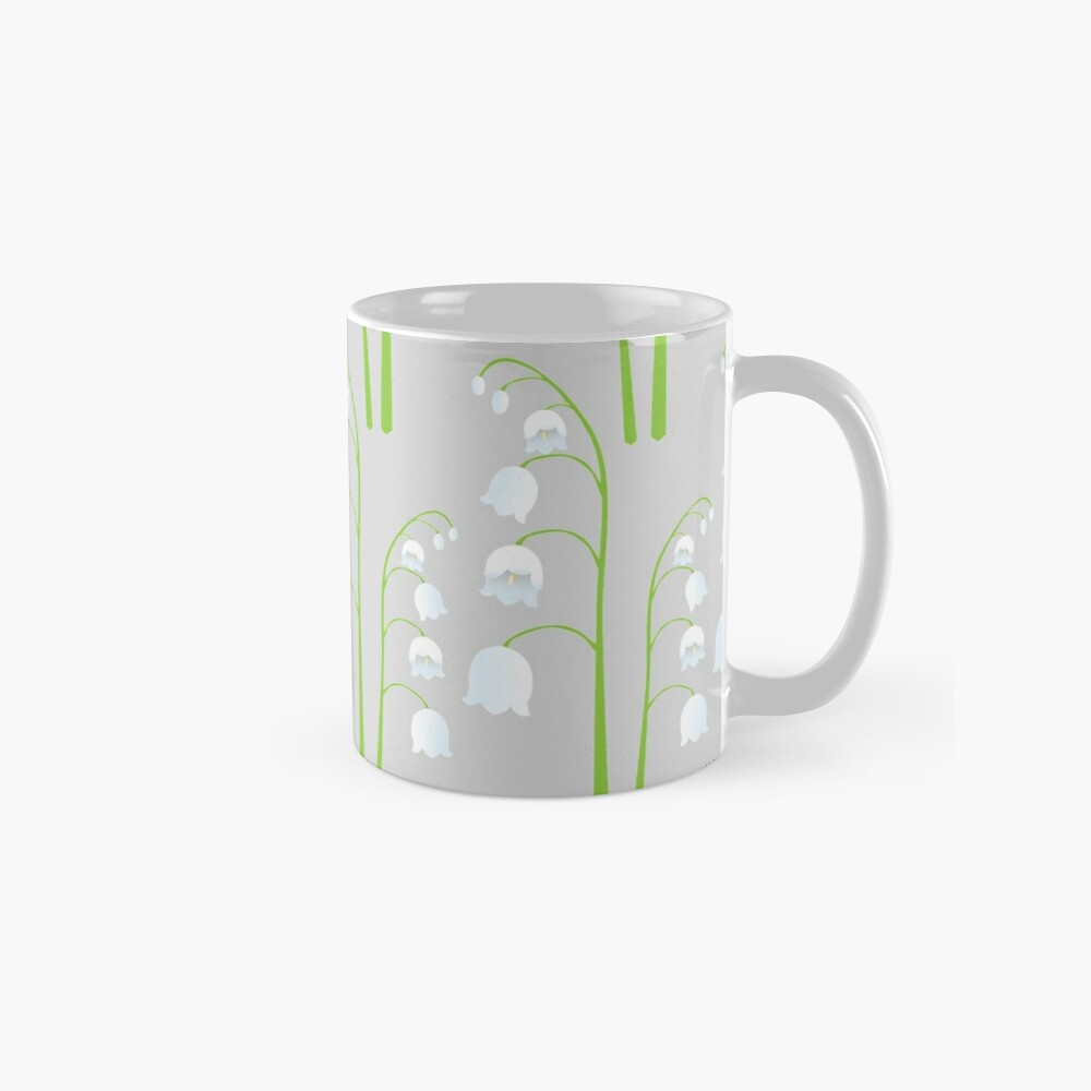 White Digital Lily of the Valley Floral Pattern Mug