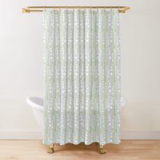 White Digital Lily of the Valley Floral Pattern Shower Curtain