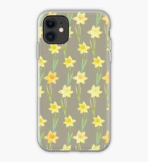 Yellow Watercolour Stemmed Daffodil Pattern on Khaki  iPhone Case