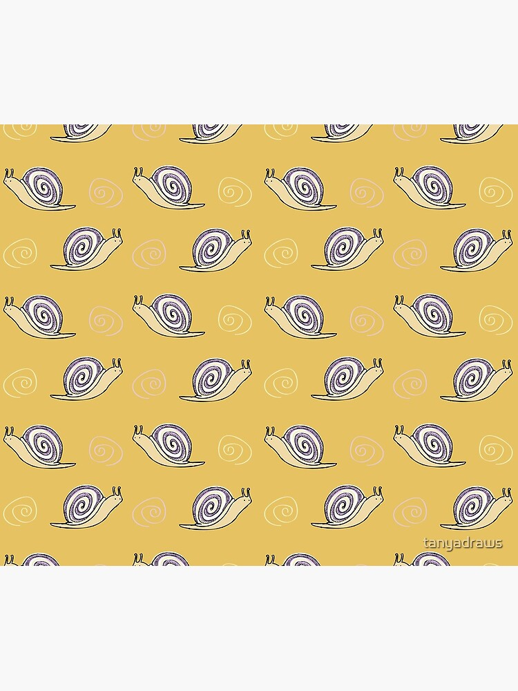 Illustrated Snail and Swirls Pattern by tanyadraws