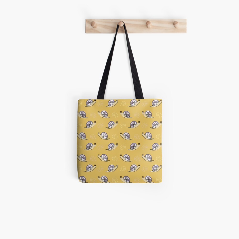 Illustrated Snail and Swirls Pattern Tote Bag