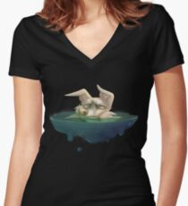 Half drowning dog Women's Fitted V-Neck T-Shirt