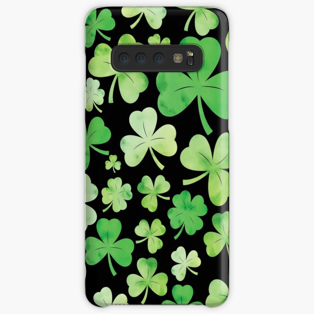 St Patricks Day Green Watercolour Shamrock Pattern Samsung Galaxy Snap Case