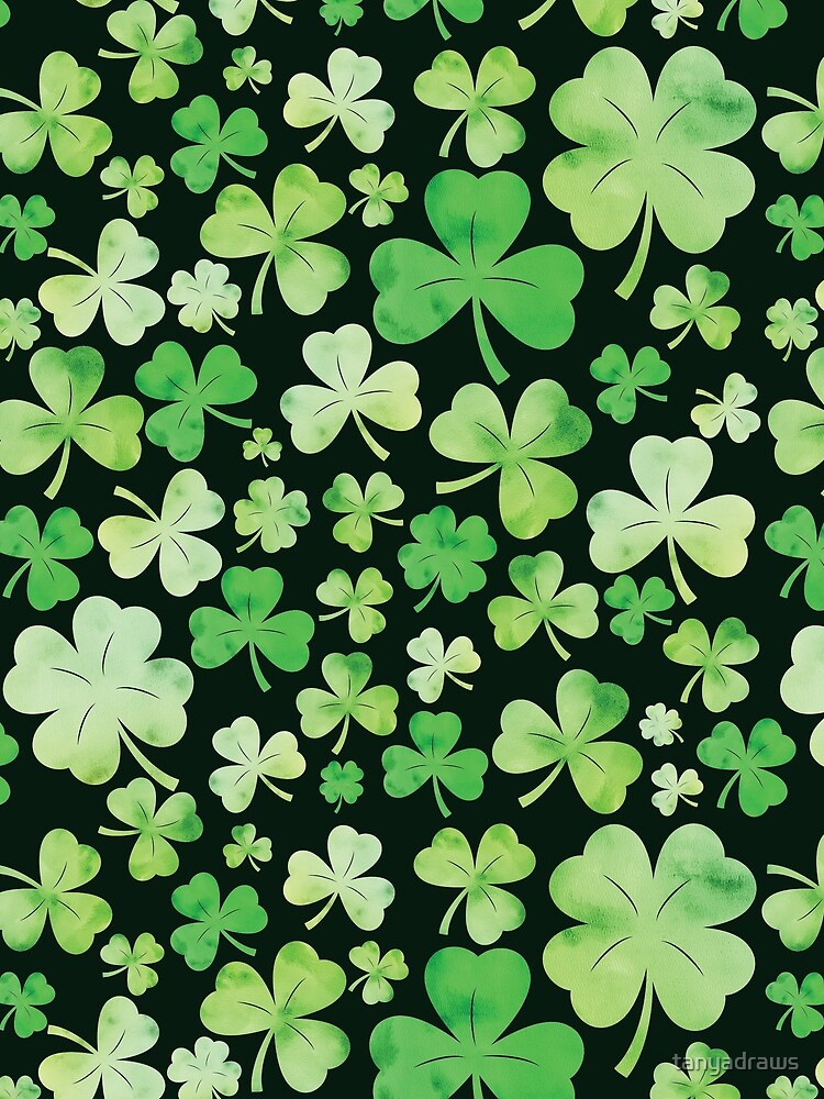 St Patricks Day Green Watercolour Shamrock Pattern by tanyadraws