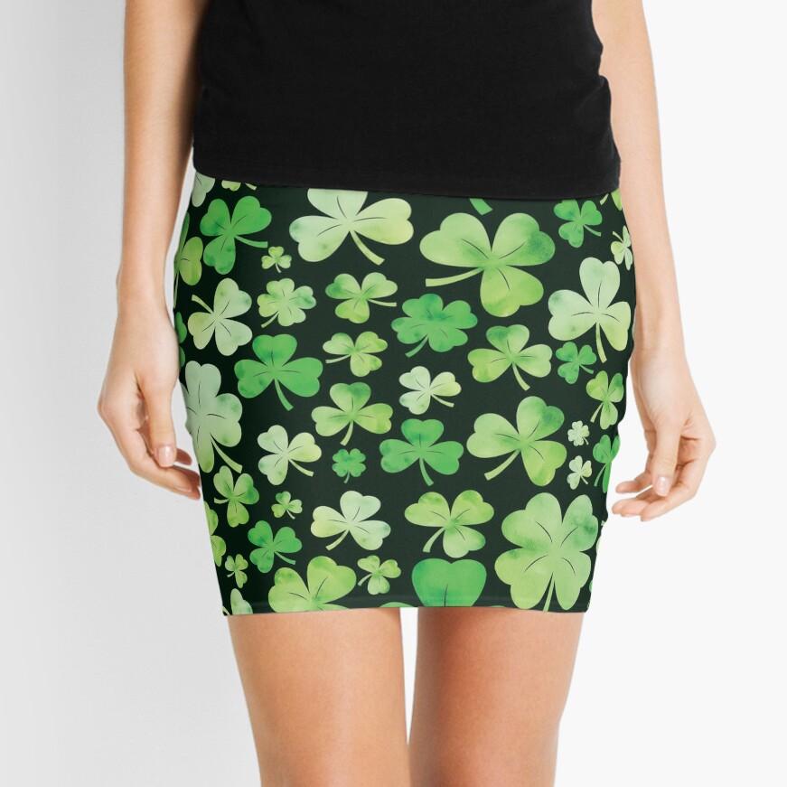 St Patricks Day Green Watercolour Shamrock Pattern Mini Skirt