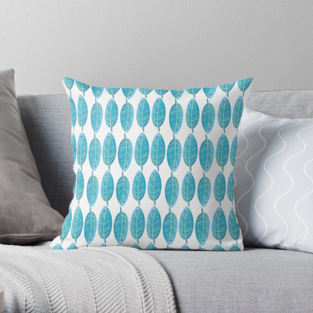 Blue Watercolor Leaf Throw Pillow