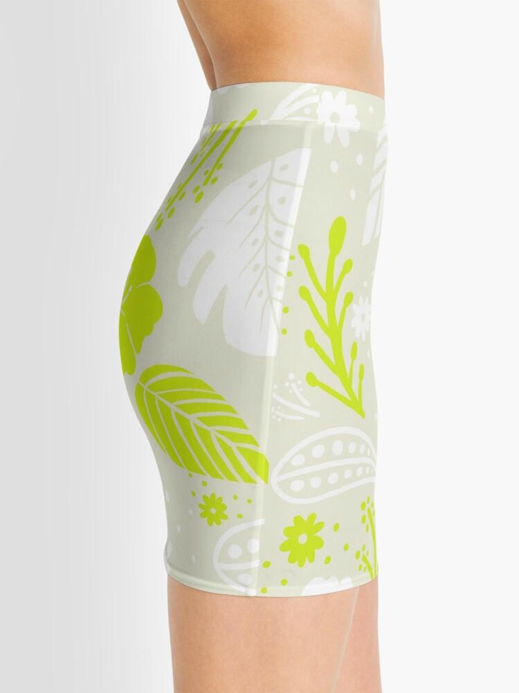 Alternate view of Foliage & Hibiscus Pattern - Green Mini Skirt