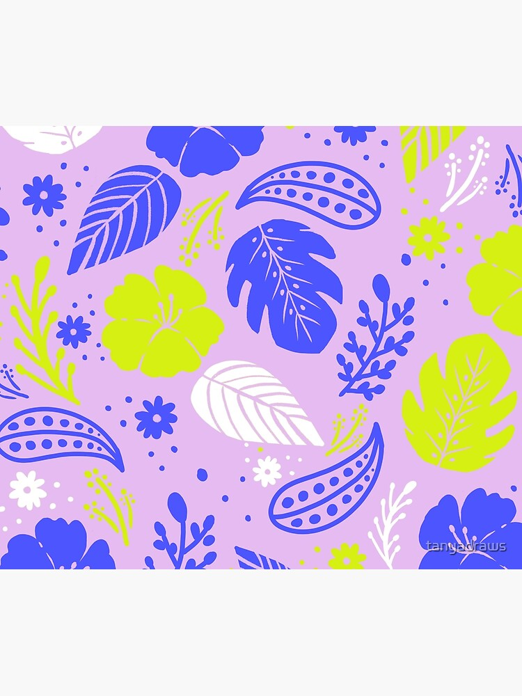 Foliage & Hibiscus Pattern - Lavender by tanyadraws