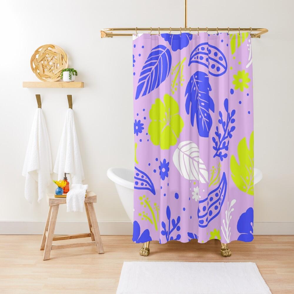 Foliage & Hibiscus Pattern - Lavender Shower Curtain
