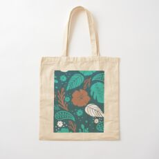 Foliage & Hibiscus Pattern - Navy Cotton Tote Bag