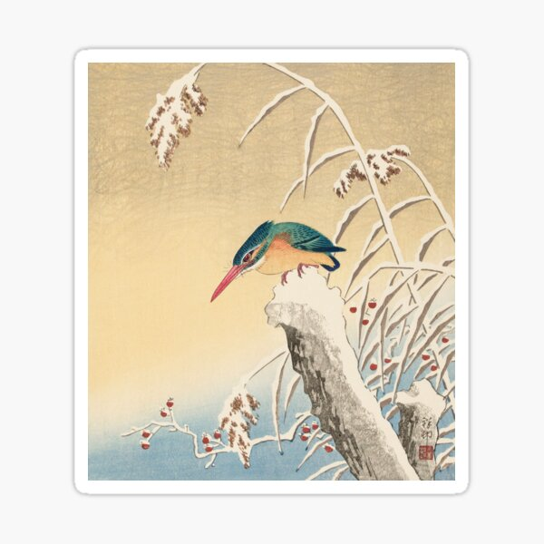 Kingfisher in the snow Sticker