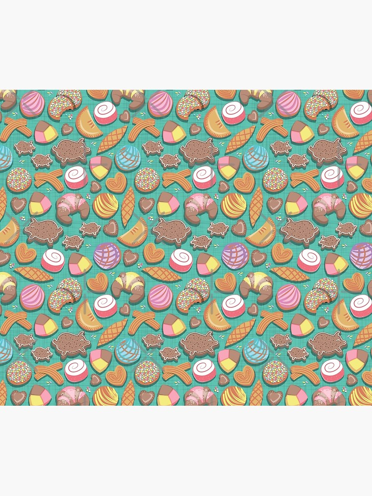 Mexican Sweet Bakery Frenzy // teal background // pastel colors pan dulce by SelmaCardoso