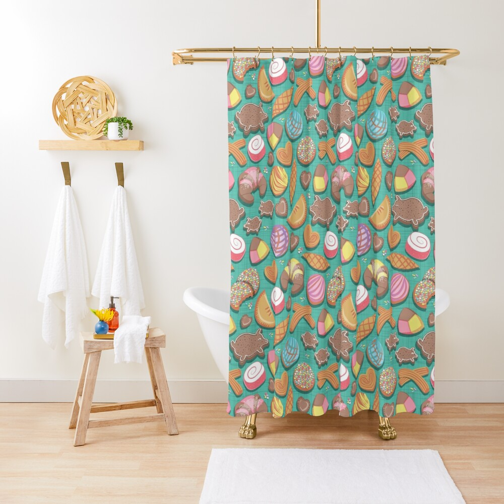 Mexican Sweet Bakery Frenzy // teal background // pastel colors pan dulce Shower Curtain