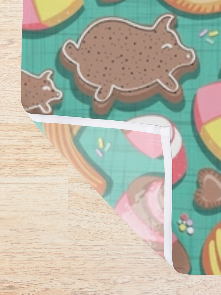 Alternate view of Mexican Sweet Bakery Frenzy // teal background // pastel colors pan dulce Shower Curtain