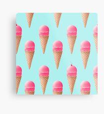 Strawberry Ice Cream Pattern - Blue Metal Print