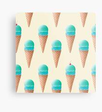 Blue Ice Cream Pattern - Cream Metal Print