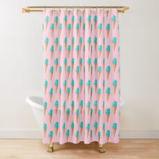 Blue Ice Cream Pattern - Pink Shower Curtain