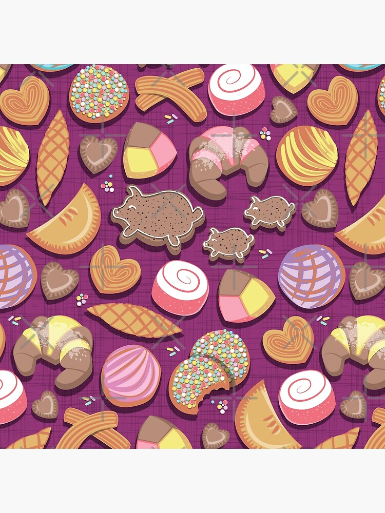 Mexican Sweet Bakery Frenzy // pink background // pastel colors pan dulce by SelmaCardoso