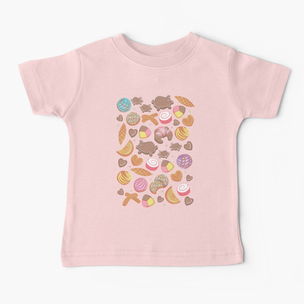 Mexican Sweet Bakery Frenzy // pink background // pastel colors pan dulce Baby T-Shirt