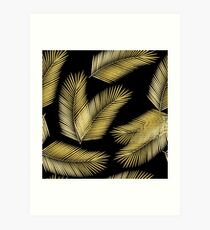 Tropical Gold Palm Leaves on Black Art Print