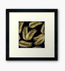 Tropical Gold Palm Leaves on Black Framed Print