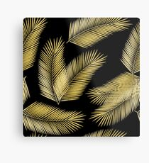 Tropical Gold Palm Leaves on Black Metal Print