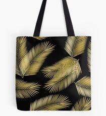 Tropical Gold Palm Leaves on Black Tote Bag