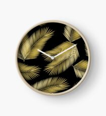 Tropical Gold Palm Leaves on Black Clock
