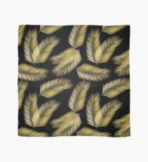 Tropical Gold Palm Leaves on Black Scarf