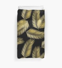 Tropical Gold Palm Leaves on Black Duvet Cover